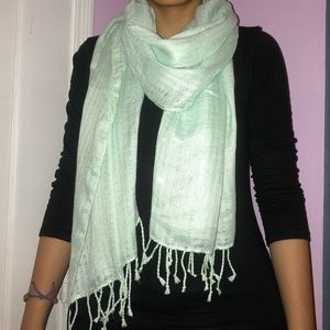 Mint Sparkly Scarf with Tassels